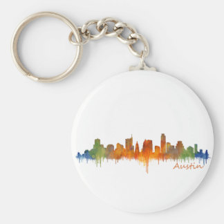 Austin watercolor Texas skyline v2 Keychain