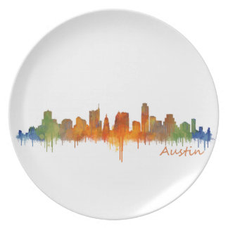Austin watercolor Texas skyline v2 Melamine Plate