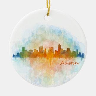 Austin watercolor Texas skyline v4 Ceramic Ornament