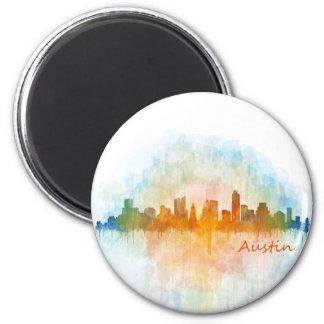 Austin watercolor Texas skyline v4 Magnet