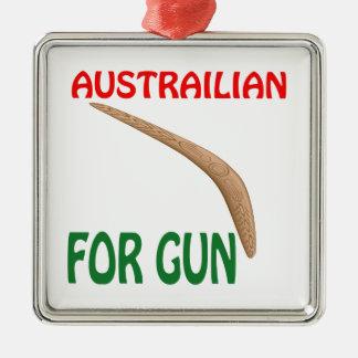 Austrailian para el arma adorno navideño cuadrado de metal