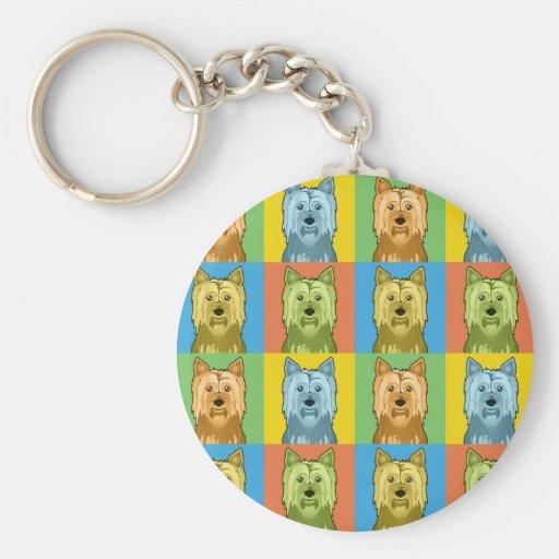 Austrailian Silky Terrier Cartoon Pop-Art Keychain