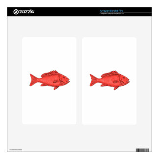 Australasian Snapper Swimming Drawing Kindle Fire Decals