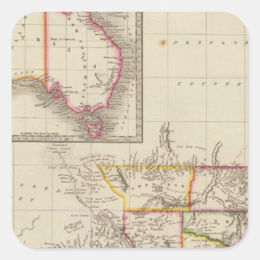Australia 2 calcomanía cuadradas personalizada