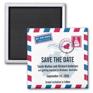 Australia Air Mail Wedding Save the Date Fridge Magnets