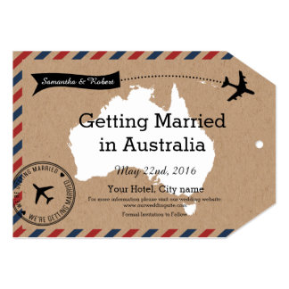 Australia Airmail Kraft Luggage Tag Save The Dates 5x7 Paper Invitation Card