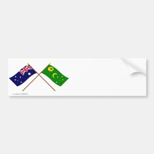 Australia and Cocos Islands Crossed Flags Bumper Sticker