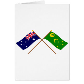 Australia and Cocos Islands Crossed Flags Card