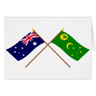 Australia and Cocos Islands Crossed Flags Greeting Cards