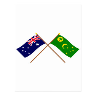 Australia and Cocos Islands Crossed Flags Postcards