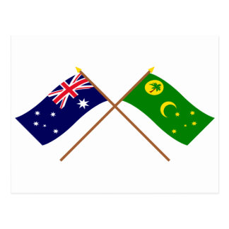 Australia and Cocos Islands Crossed Flags Postcard