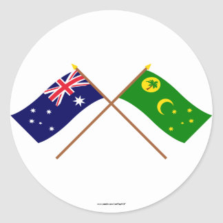 Australia and Cocos Islands Crossed Flags Classic Round Sticker