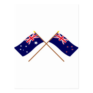 Australia and New Zealand Crossed Flags Postcard