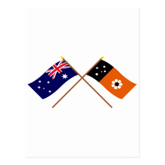 Australia and Northern Territory Crossed Flags Postcard