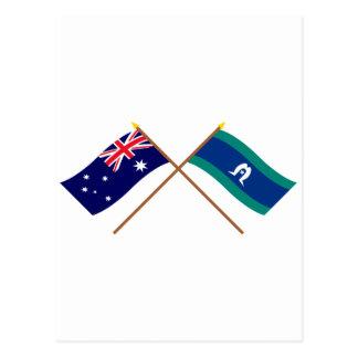 Australia and Torres Strait Islands Crossed Flags Postcard