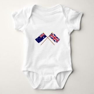 Australia and United Kingdom Crossed Flags Baby Bodysuit