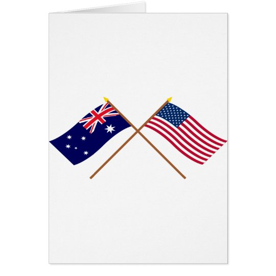 Australia and United States Crossed Flags Card