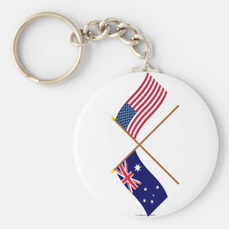 Australia and United States Crossed Flags Keychain