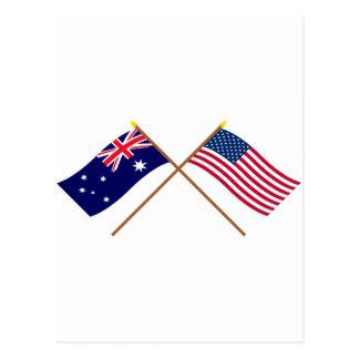 Australia and United States Crossed Flags Postcard