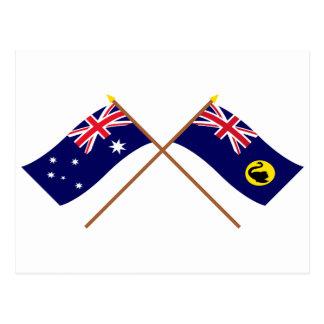 Australia and Western Australia Crossed Flags Postcard