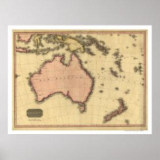 Australia Asia Map By John Pinkerton 1818 Poster