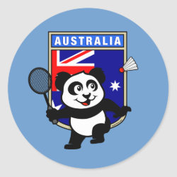Round Sticker with Australia Badminton Panda design