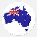 Australia-bandera-país-biselado-borde Pegatinas Redondas