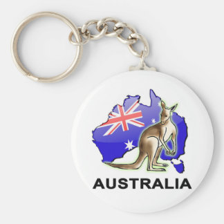 Australia Basic Round Button Keychain