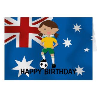 Australia Birthday Soccer Girl 4 Cards