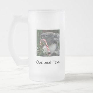 Australia Christmas Koala Bear Frosted Glass Beer Mug