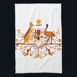 """Australia COA Brown Kitchen Towel<br><div class=""""desc"""">Digitally altered graphic: Coat of Arms of Australia in brown tint</div>"""