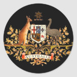 australia coat of arms classic round sticker
