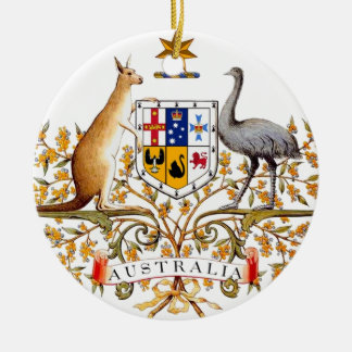 Australia coat of arms Double-Sided ceramic round christmas ornament