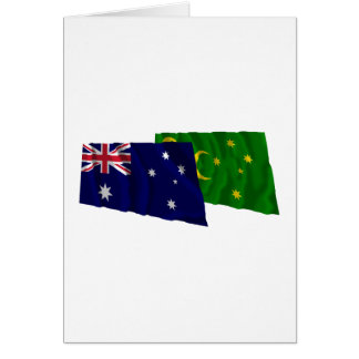 Australia & Cocos Islands Waving Flags Greeting Cards