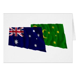 Australia & Cocos Islands Waving Flags Cards
