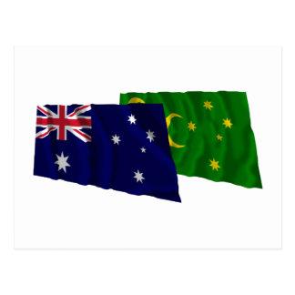 Australia & Cocos Islands Waving Flags Postcard