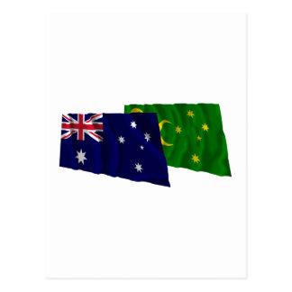 Australia & Cocos Islands Waving Flags Post Card