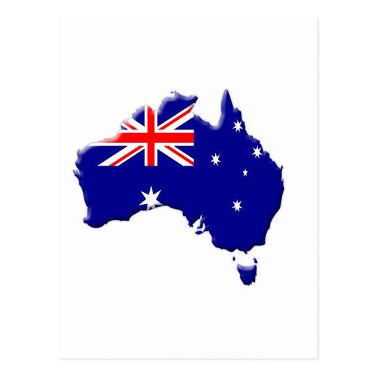 Australia country shape with flag postcard