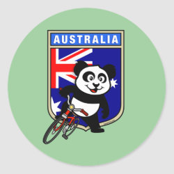 Round Sticker with Australia Cycling Panda design