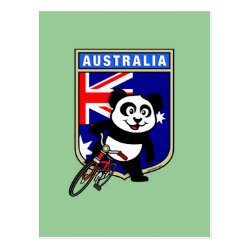 Postcard with Australia Cycling Panda design