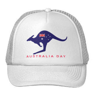 AUSTRALIA DAY KANGAROO FLAG CAP TRUCKER HAT
