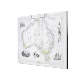 Australia, de una serie de mapas del mundo publicó impresión en lienzo estirada