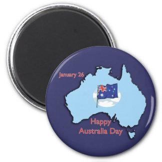 Australia día 26 de enero imán redondo 5 cm