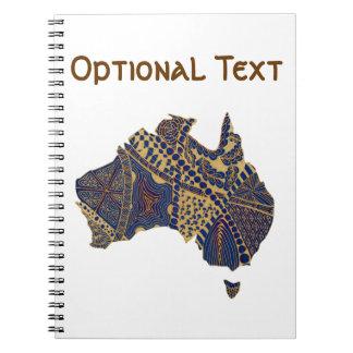 Australia Doodle Tan Red Blue Notebook