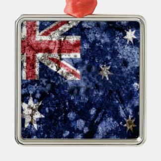 AUSTRALIA FLAG ADORNO NAVIDEÑO CUADRADO DE METAL