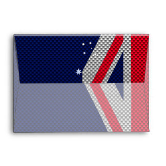 Australia Flag Design in Carbon Fiber Chrome Decor Envelope
