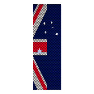 Australia Flag Design in Carbon Fiber Chrome Style Double-Sided Mini Business Cards (Pack Of 20)