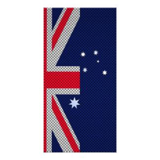 Australia Flag Design in Carbon Fiber Chrome Style Card