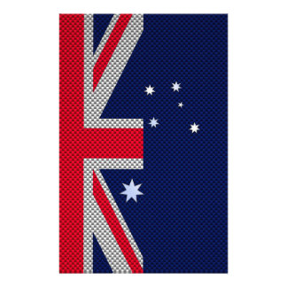 Australia Flag Design in Carbon Fiber Chrome Style Flyer