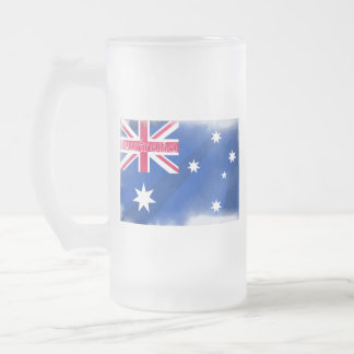 Australia Flag Fadeout Frosted Glass Beer Mug
